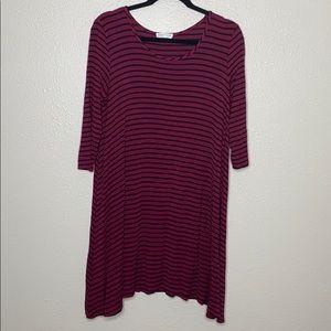 Socialite maroon and black striped tshirt dress